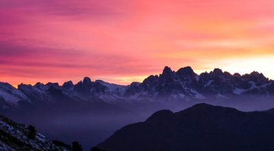 Italy - mountain Marmolada at sunset