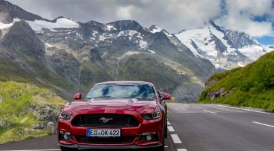mountain, - Grossglockner, red Ford Mustang GT