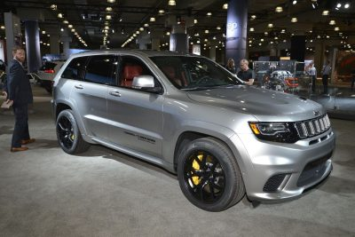 2018 Silver Jeep Grand Cherokee Trackhawk with black wheels