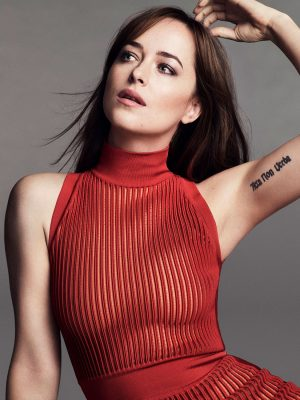 Dakota Mayi Johnson in red blouse