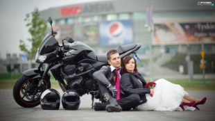 just married with z750 on a street