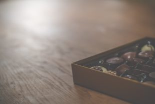 a box of chocolates on a table