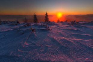 amazing sunset in winter