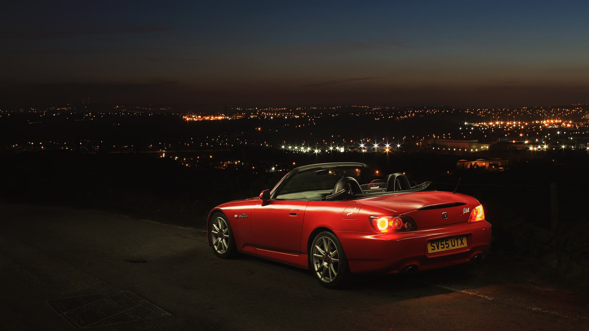 Red Honda s2000 at night
