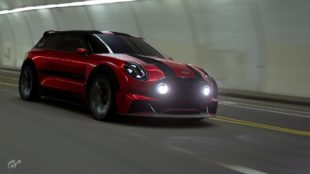 red Cooper S in tunnel