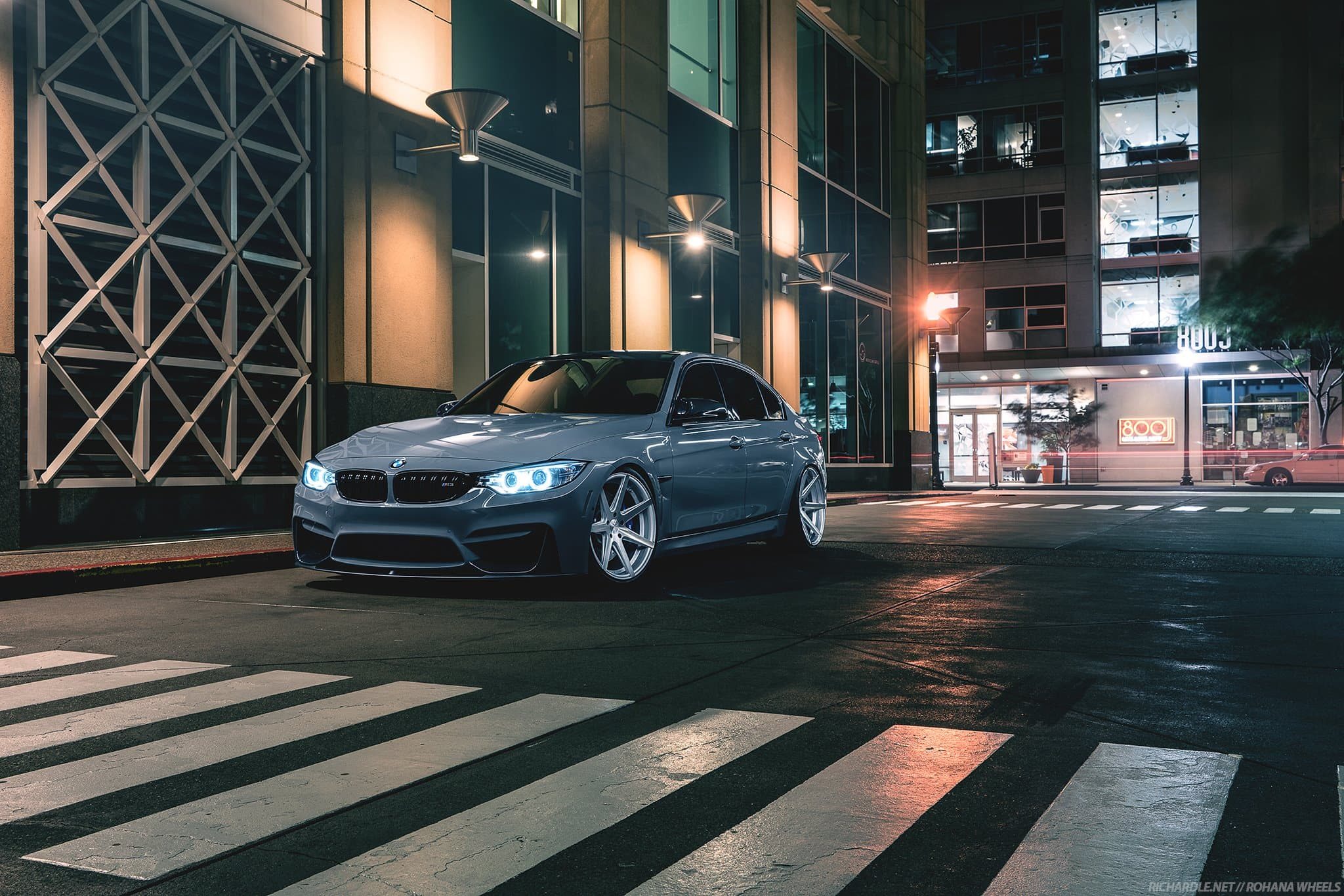 turquoise BMW M3 f80, lowered