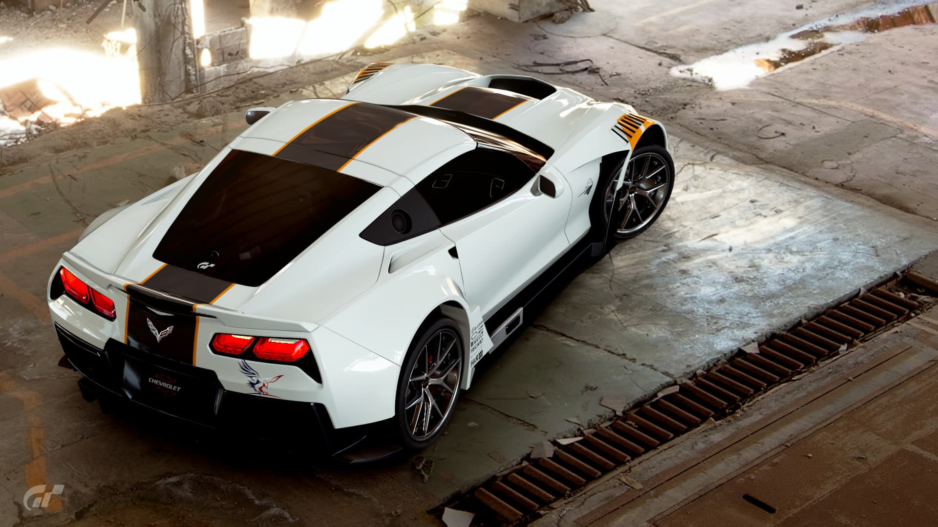 white Chevrolet Corvette Gr.3