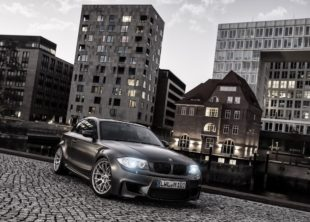 BMW 1M Coupe on city background