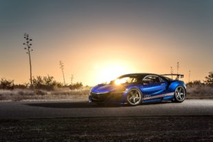 2017 blue Acura NSX at sunset