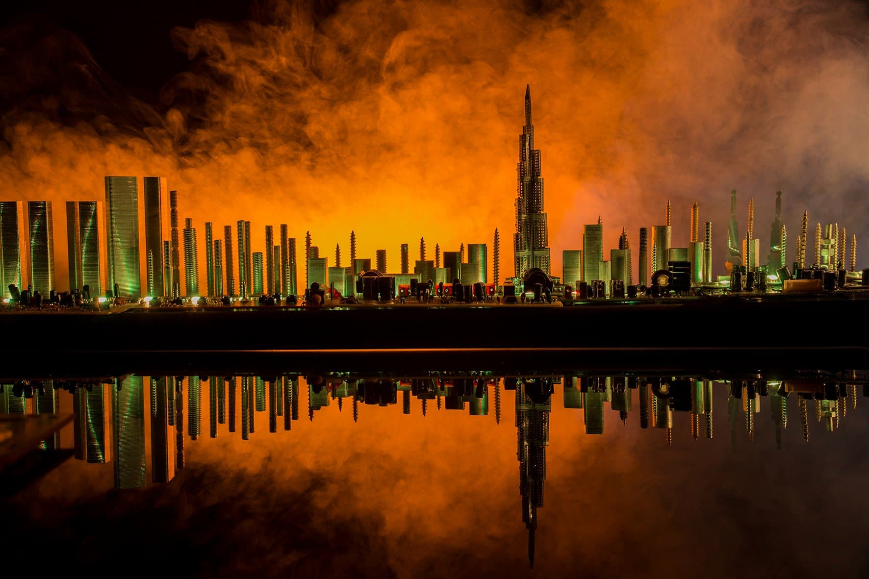 Dubai on fire background