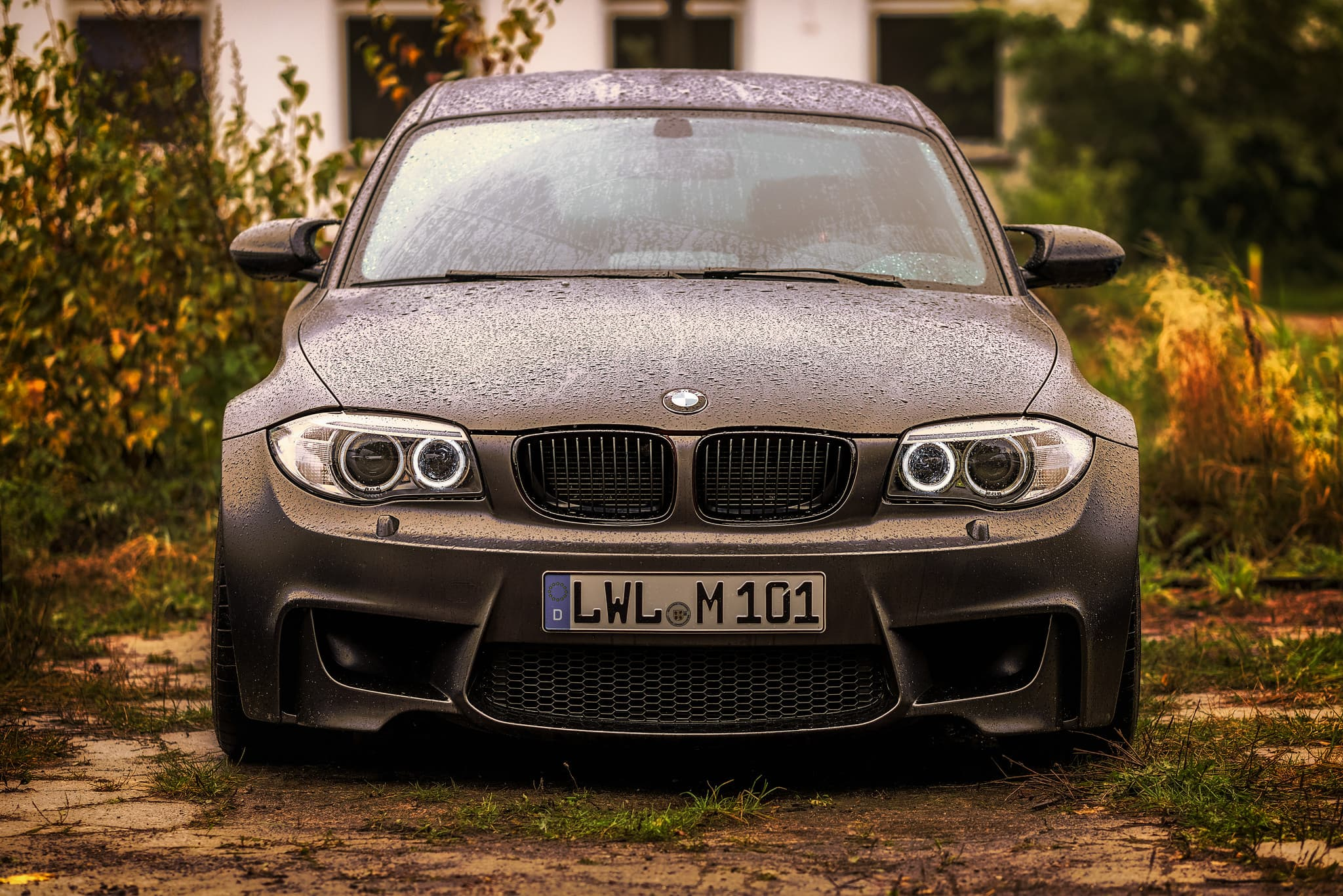 headlights of BMW 1M Coupe
