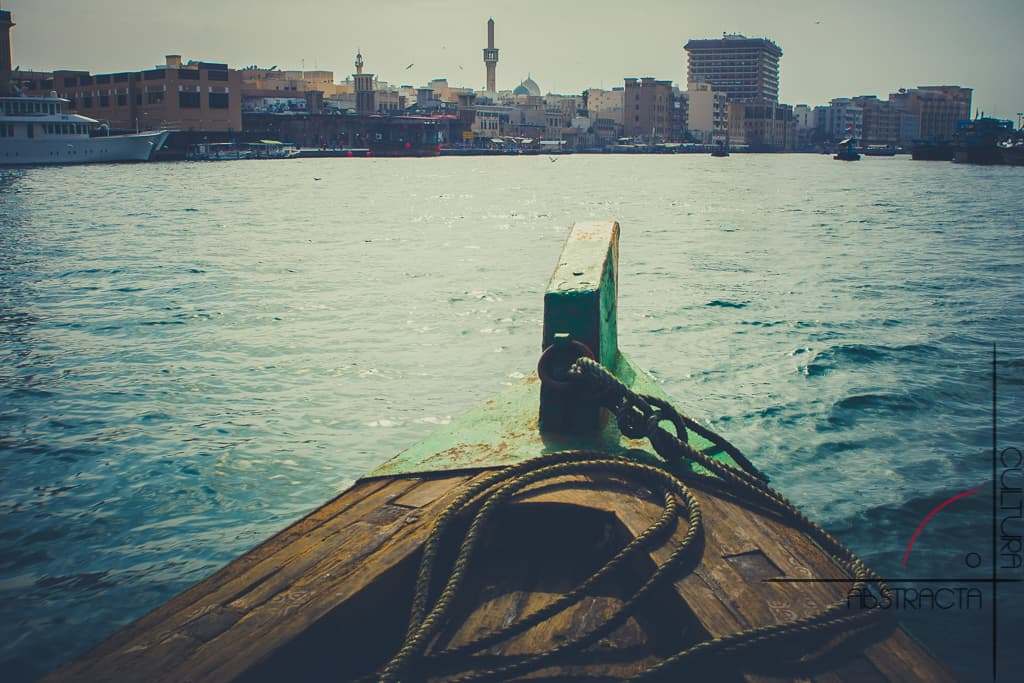 view of Dubai city from a boat