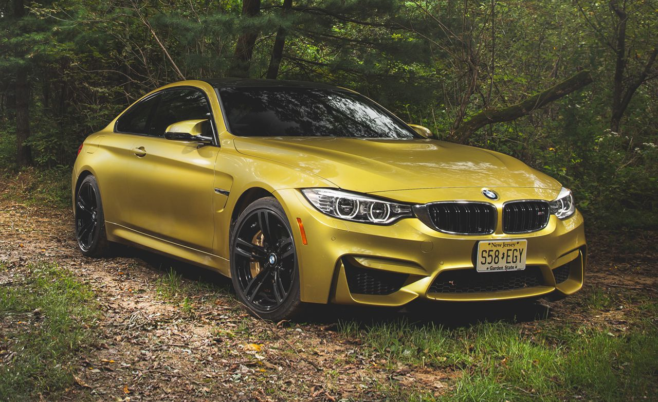 BMW M4 in a forest
