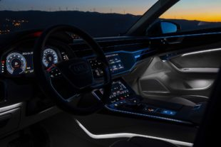 2019 Audi A6 interior at night