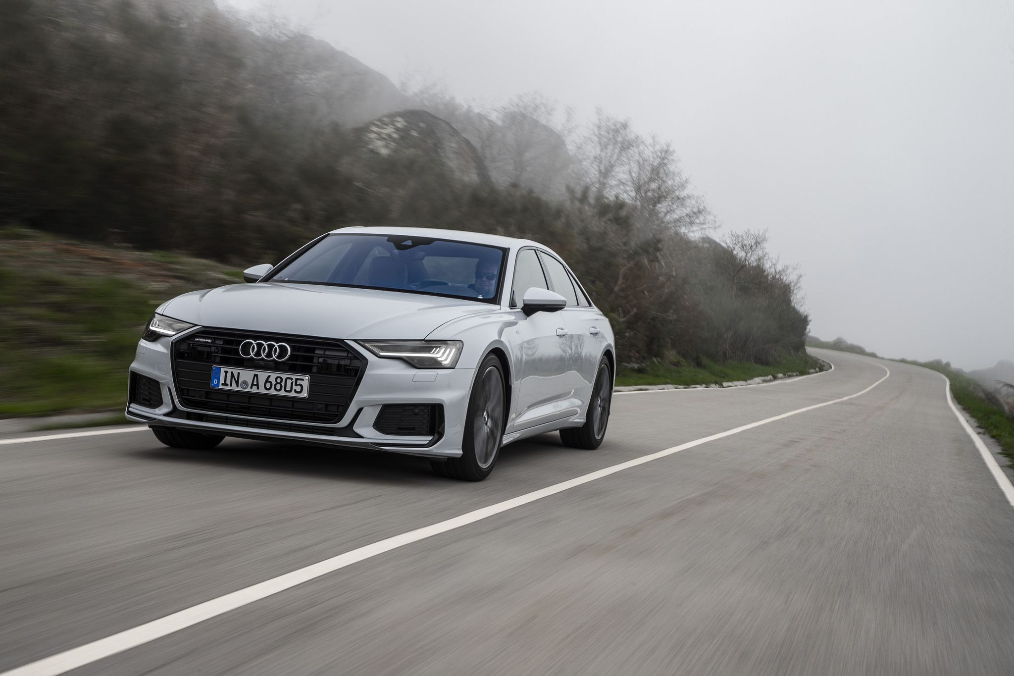 2019 Audi A6 at speed