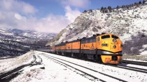 locomotive against the background of snowy mountains