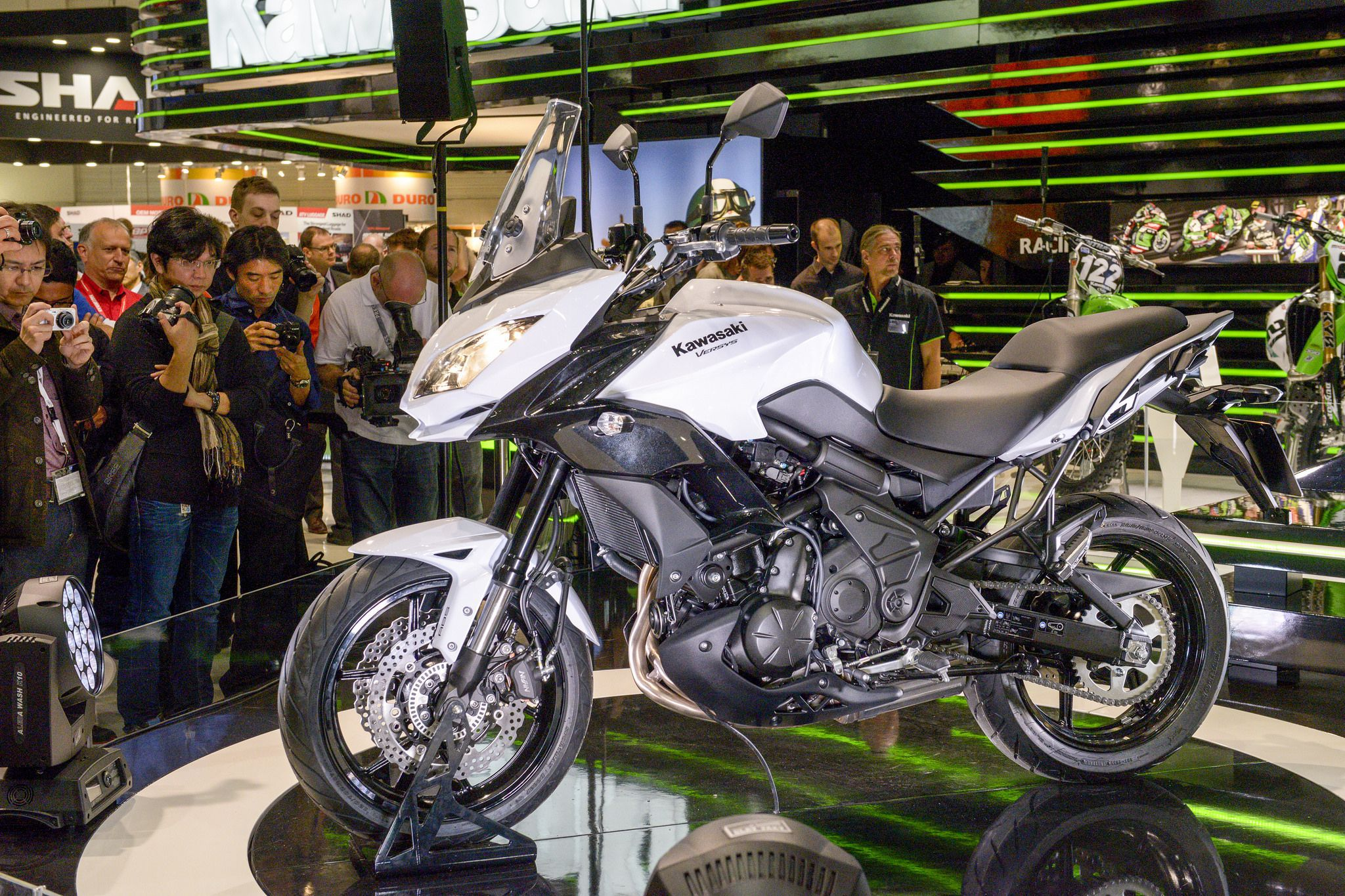 white Kawasaki Versys 650 at presentation