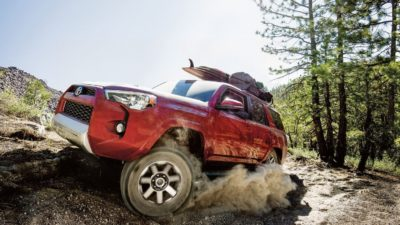 2018 red Toyota 4Runner in offroad