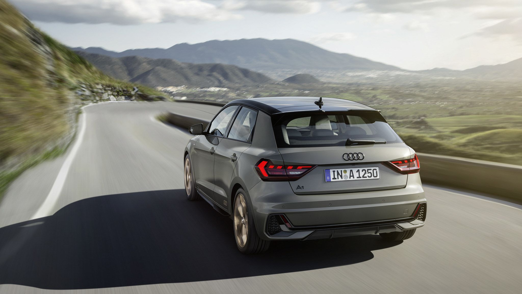 2019 gray Audi A1 Sportback at speed