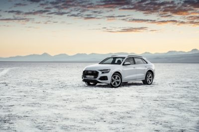 2019 white Audi Q8 on the sand