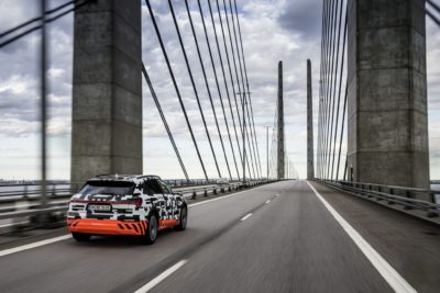 Audi e tron at a bridge