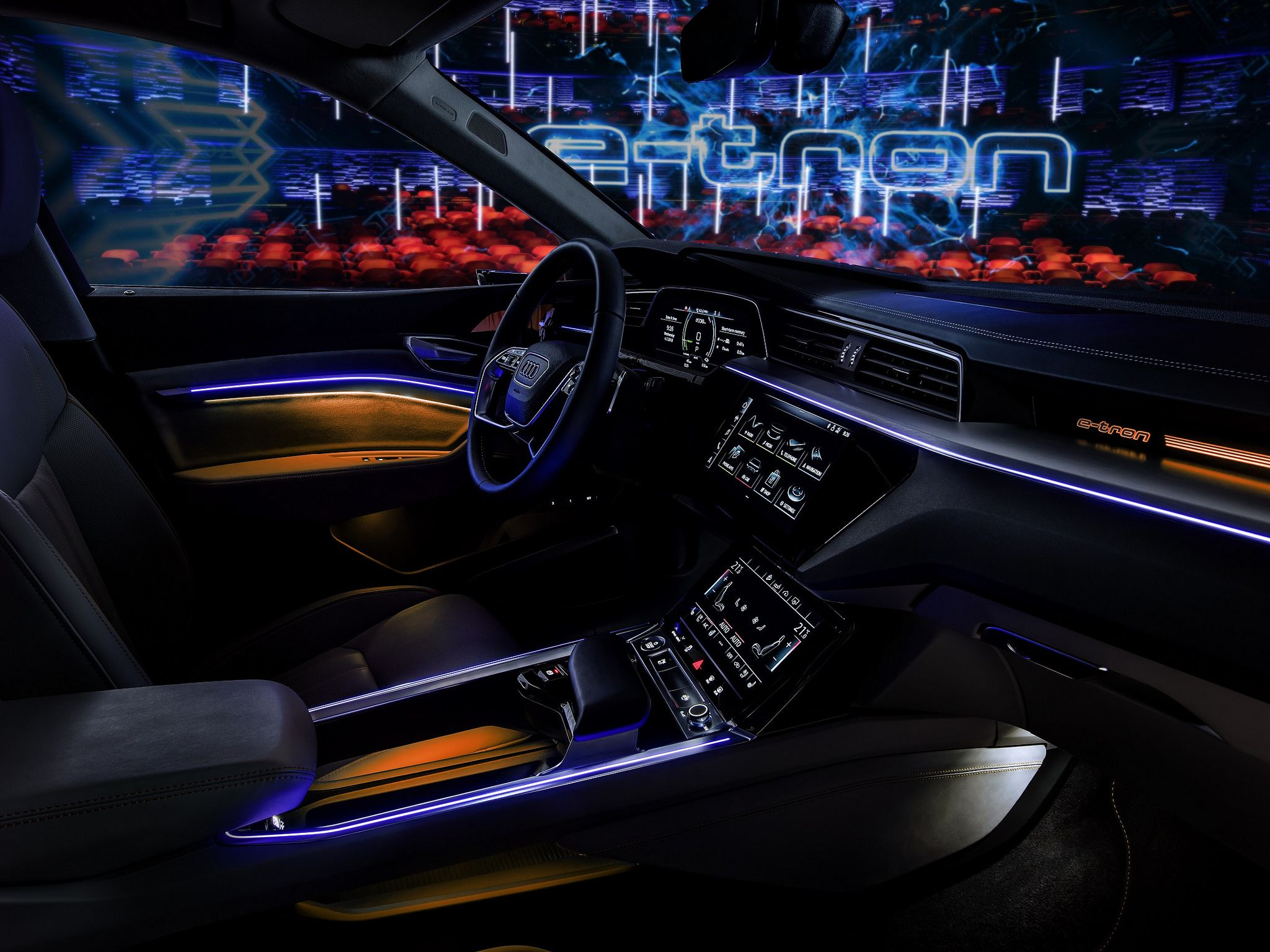 Audi e tron neon lights interior