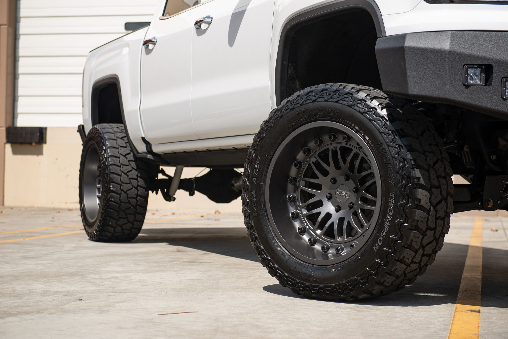 White Gmc Sierra 1500 On Black Rhino Fury 22in Wheels