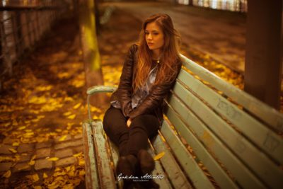 beautiful girl on a bench