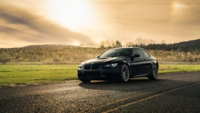 black BMW M3 E92 at sunset