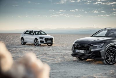 white and black Audi Q8 2019