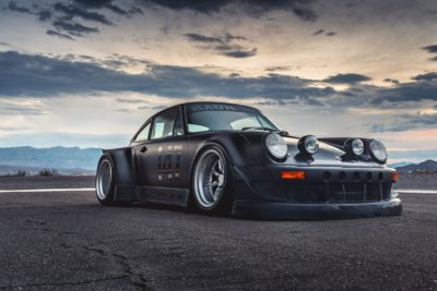 Black widebody sport car on Rotiform MLW wheels - RWB Porsche 911 (993) - amazing view