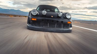 Black widebody sport car on Rotiform MLW wheels - RWB Porsche 911 (993) front bumper