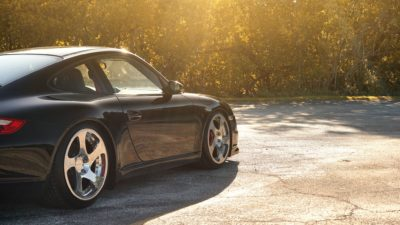 Black sport car on Rotiform CBU wheels - Porsche 911 Turbo (997) in HD