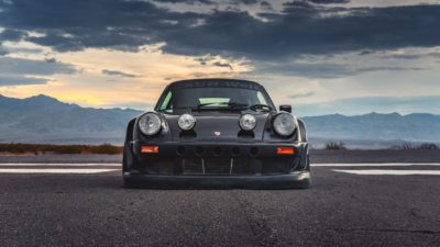 Black widebody sport car on Rotiform MLW wheels - RWB Porsche 911 (993) and beautiful storm