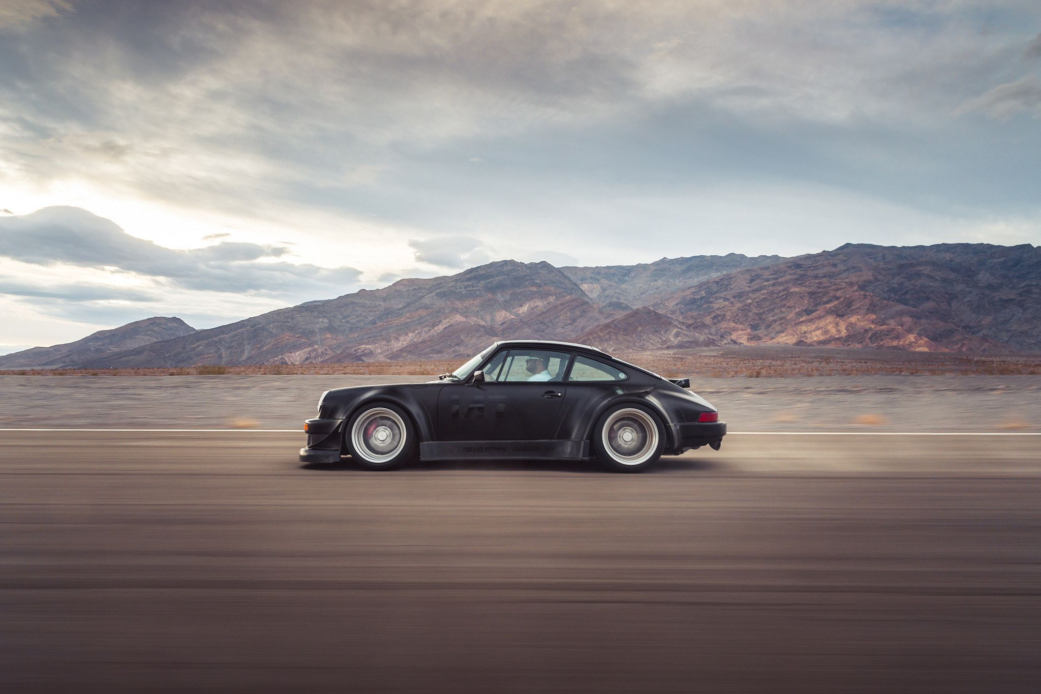 Black widebody sport car on Rotiform MLW wheels - RWB Porsche 911 (993) HD image
