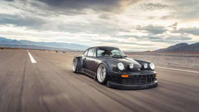 Black widebody sport car on Rotiform MLW wheels - RWB Porsche 911 (993) in high quality and resolution