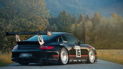 Black sport car on Rotiform CBU wheels - Porsche 911 Turbo (997) sport