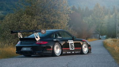 Black sport car on Rotiform CBU wheels - Porsche 911 Turbo (997) MK2