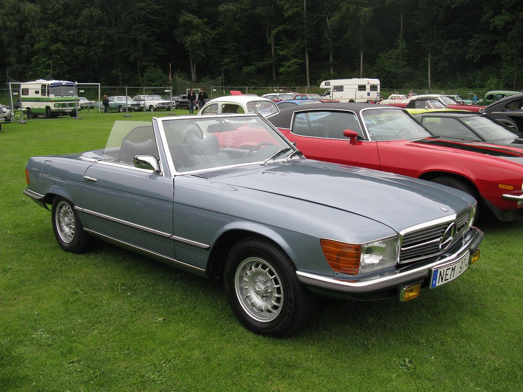 1974 asphalt colour Mercedes Benz 350SL 2dr roadster