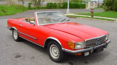 1974 red Mercedes Benz 350SL 2dr roadster 3499cc