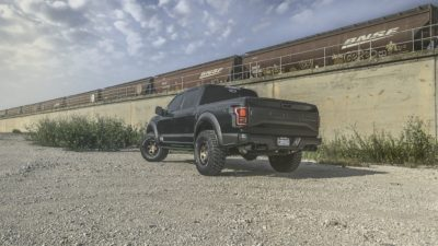 Truck on Rotiform SIX-OR wheels - 2017 black Ford Raptor F-150 - rear