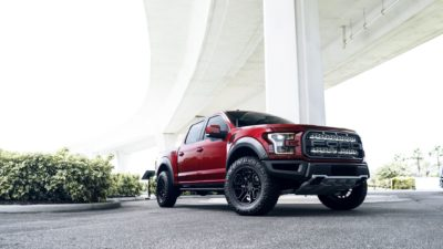 Truck on black Rotiform HUR wheels - 2017 red Ford Raptor F-150
