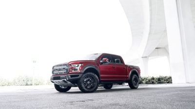 Truck on black Rotiform HUR wheels - 2017 red Ford Raptor F-150 in high quality