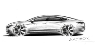 VW 5dr sedan concept pencil drawin - 2018 Volkswagen Arteon