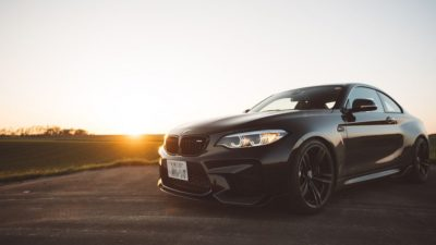 2018 black BMW M2 LCI at sunset