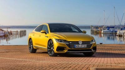 2018 green Volkswagen Arteon 5dr sedan on a pier