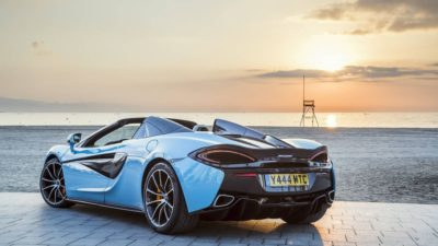2018 light blue McLaren 570S Spider at dawn