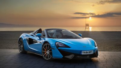 2018 light blue McLaren 570S spider ar sunset