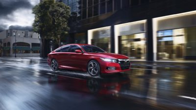 2018 red Honda Accord Sport 2.0T under rain
