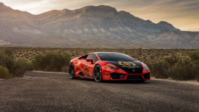 Goldrush Rally - 2018 red Lamborghini Huracan LP 610-4 at mountain background